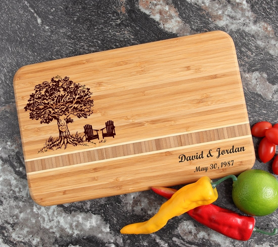 Personalized Bamboo Cutting Board Engraved 12 x 8 DESIGN 31 CBE-031