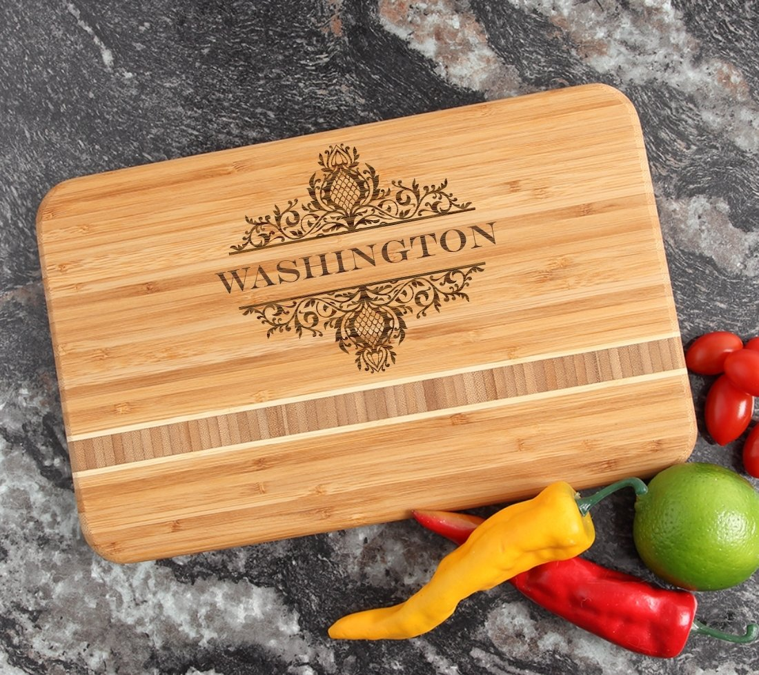 Personalized Bamboo Cutting Board Engraved 12 x 8 DESIGN 36 CBE-036