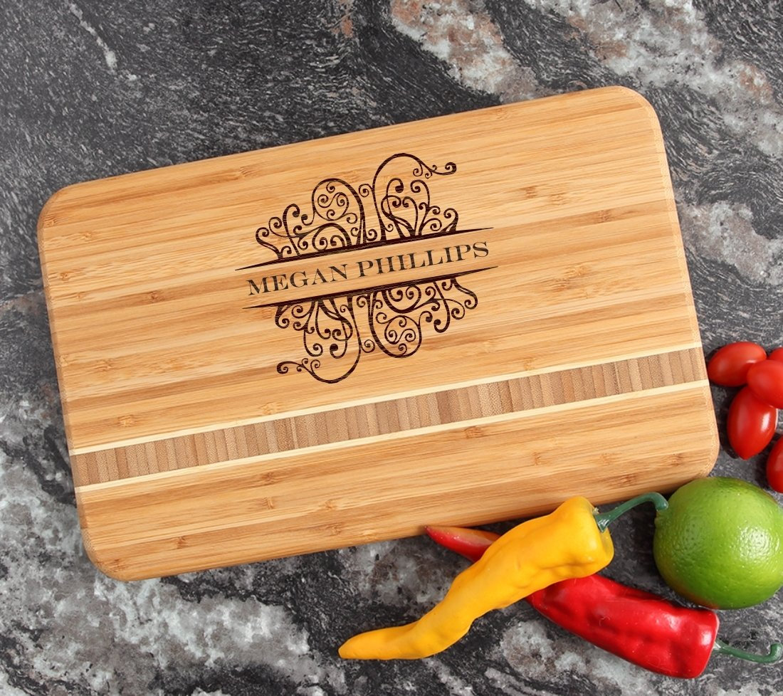 Personalized Bamboo Cutting Board Engraved 12 x 8 DESIGN 4 CBE-004