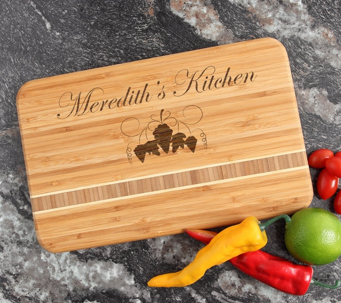 Personalized Bamboo Cutting Board Engraved 12 x 8 DESIGN 40 CBE-040
