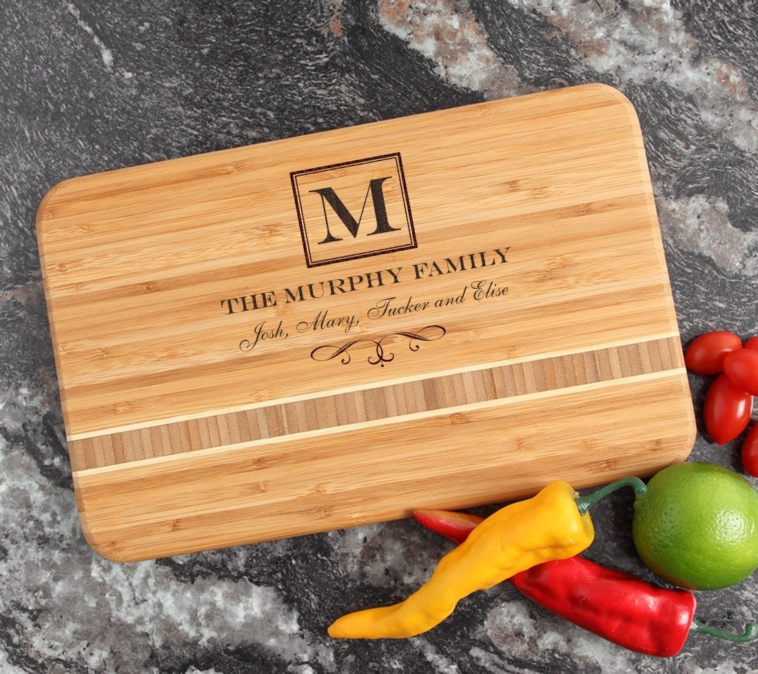 Personalized Bamboo Cutting Board Engraved 12 x 8 DESIGN 41 CBE-041