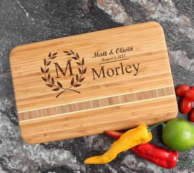 Personalized Bamboo Cutting Board Engraved 12 x 8 DESIGN 6