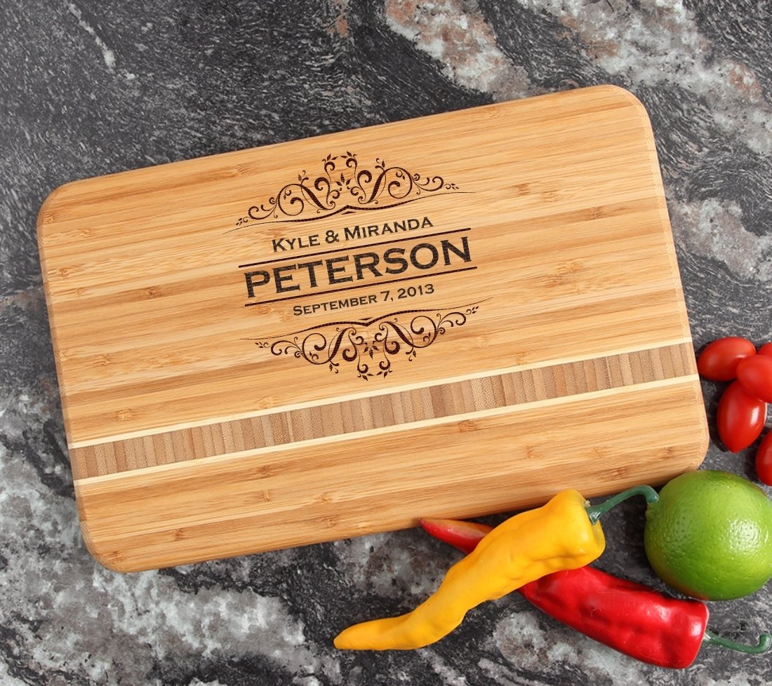 Personalized Bamboo Cutting Board Engraved 12 x 8 DESIGN 7 CBE-007
