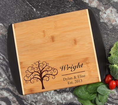 Cutting Board Engraved Personalized Bamboo 12 x 9 DESIGN 18
