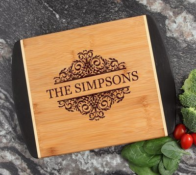 Cutting Board Engraved Personalized Bamboo 12 x 9 DESIGN 39