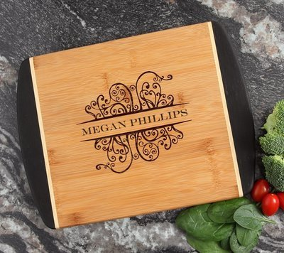 Cutting Board Engraved Personalized Bamboo 12 x 9 DESIGN 4