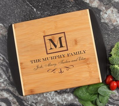Cutting Board Engraved Personalized Bamboo 12 x 9 DESIGN 41