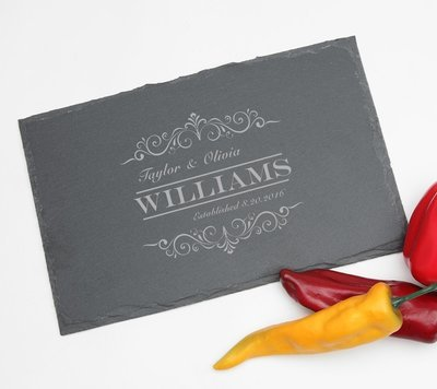 Personalized Slate Cheese Board 11 x 7 DESIGN 34