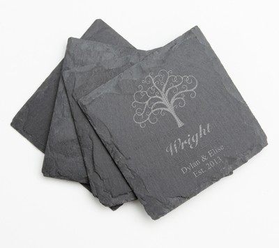Personalized Slate Coasters Engraved Slate Coaster Set DESIGN 18