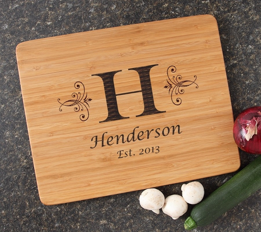 Engraved Bamboo Cutting Board Personalized 15x12 DESIGN 2