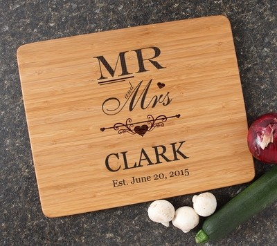 Engraved Bamboo Cutting Board Personalized 15x12 DESIGN 21