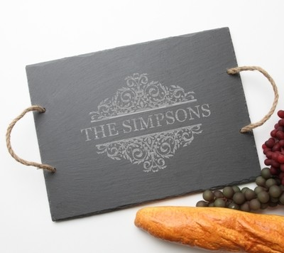 Personalized Slate Serving Tray Rope 15 x 12 DESIGN 39