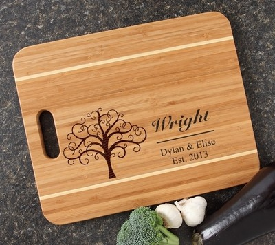 Personalized Cutting Board Engraved 15x12 Handle DESIGN 18