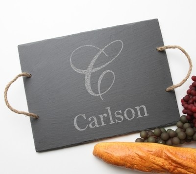 Personalized Slate Serving Tray Rope 15 x 12 DESIGN 3