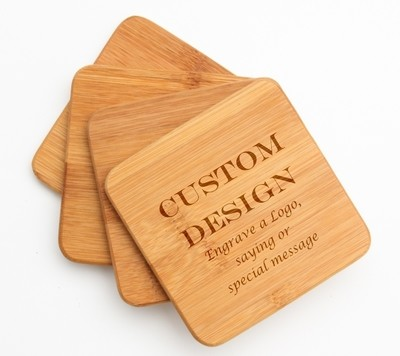Personalized Bamboo Coasters Engraved Bamboo Coaster Set DESIGN 13