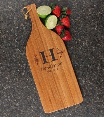 Personalized Cutting Board Engraved Bamboo 16 x 5 DESIGN 2