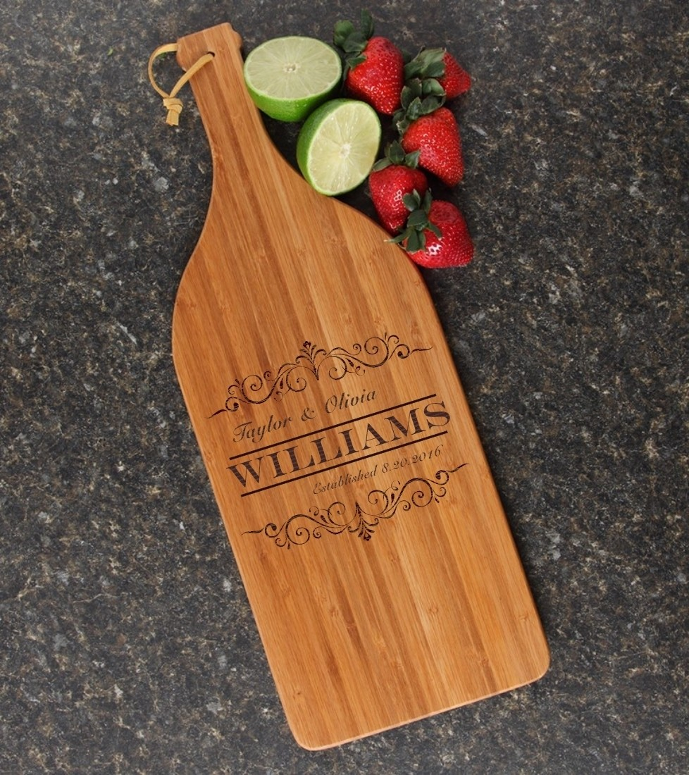 Personalized Cutting Board Engraved Bamboo 16 x 5 DESIGN 34