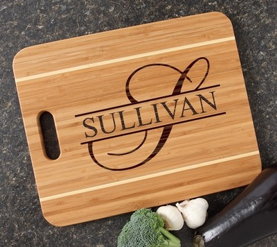 Personalized Cutting Board Engraved 15x12 Handle DESIGN 25