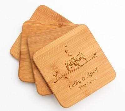 Personalized Bamboo Coasters Engraved Bamboo Coaster Set DESIGN 29
