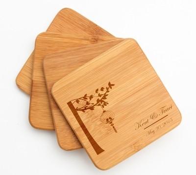 Personalized Bamboo Coasters Engraved Bamboo Coaster Set DESIGN 32