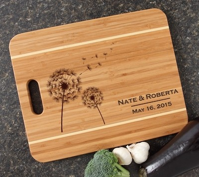 Personalized Cutting Board Engraved 15x12 Handle DESIGN 28