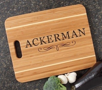 Personalized Cutting Board Engraved 15x12 Handle DESIGN 8