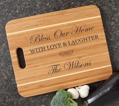 Personalized Cutting Board Engraved 15x12 Handle DESIGN 22
