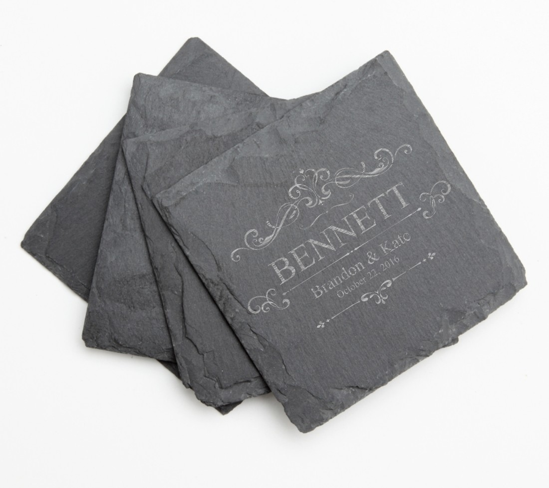 Personalized Slate Coasters Engraved Slate Coaster Set DESIGN 35