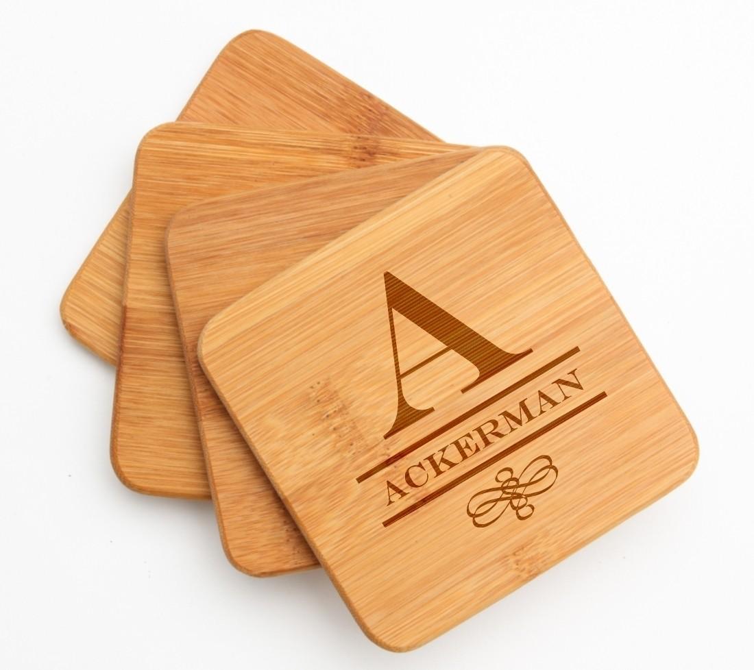 Personalized Bamboo Coasters Engraved Bamboo Coaster Set DESIGN 12