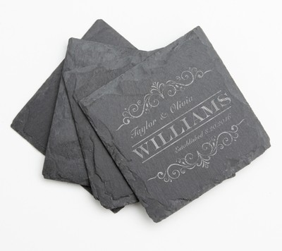 Personalized Slate Coasters Engraved Slate Coaster Set DESIGN 34