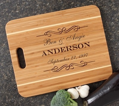 Personalized Cutting Board Engraved 15x12 Handle  DESIGN 9