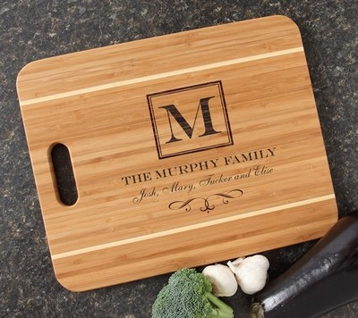 Personalized Cutting Board Engraved 15x12 Handle  DESIGN 41