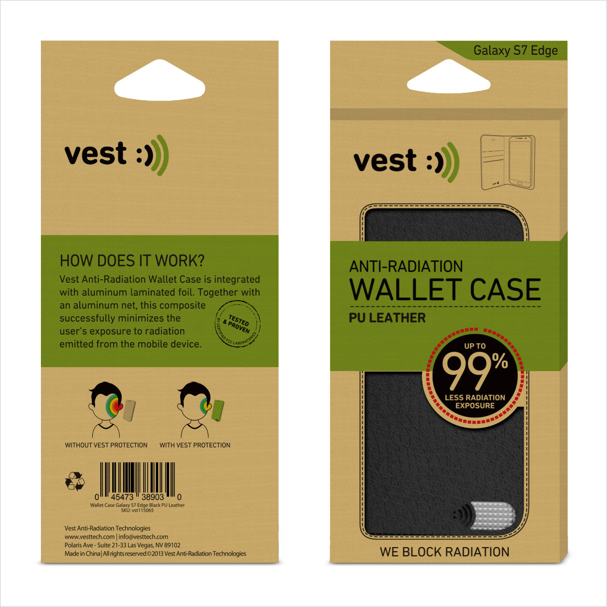 vest Anti-Radiation Wallet Case for Galaxy S7 Edge