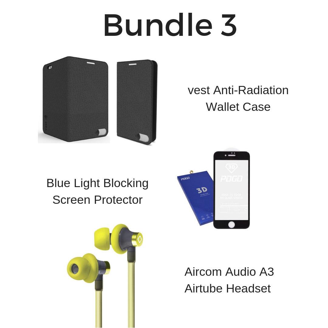 Wallet Case, Headset & Blue Light Screen Protector