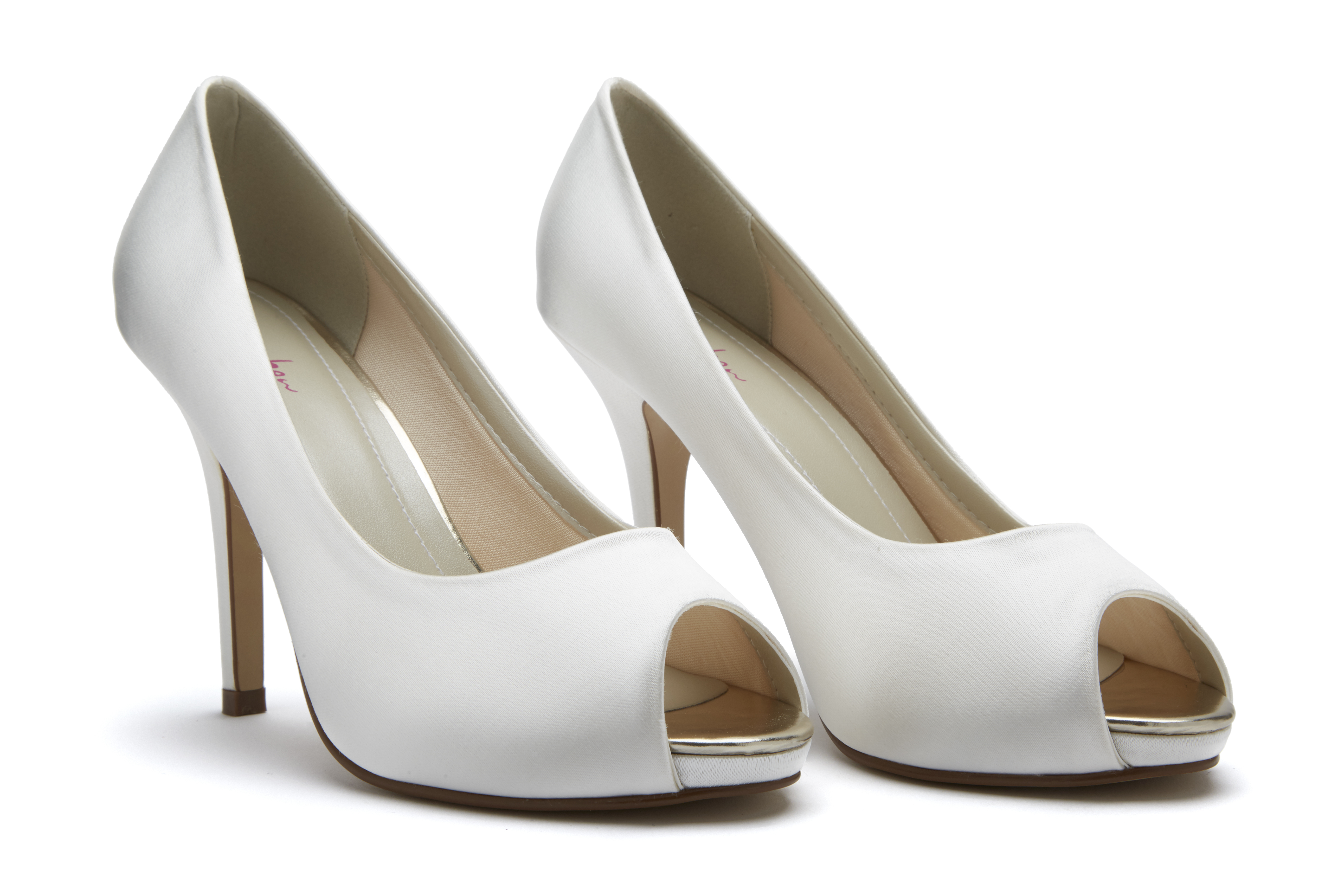 2917cf26d315 Jennifer. White. Heel Height 10.5 cm. Dyeable Ivory Satin. A gorgeous peep  toe court shoe ...
