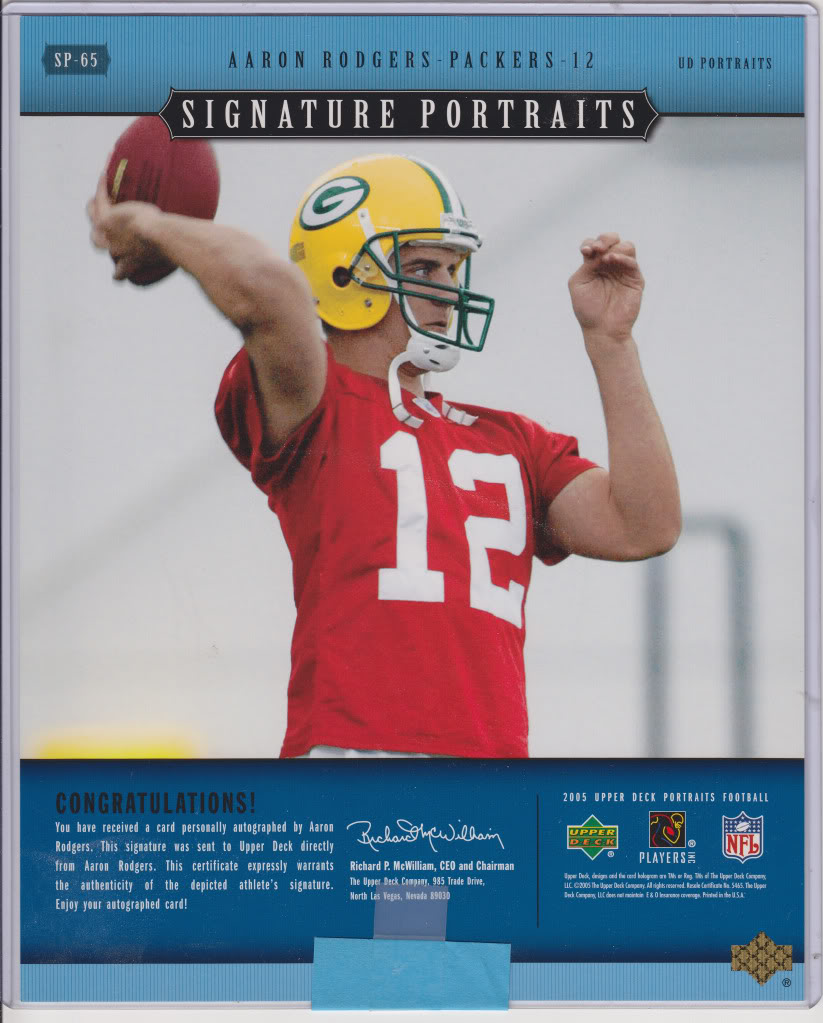 2005 Upper Deck Portraits Aaron Rodgers Rookie Rc 8 X 10