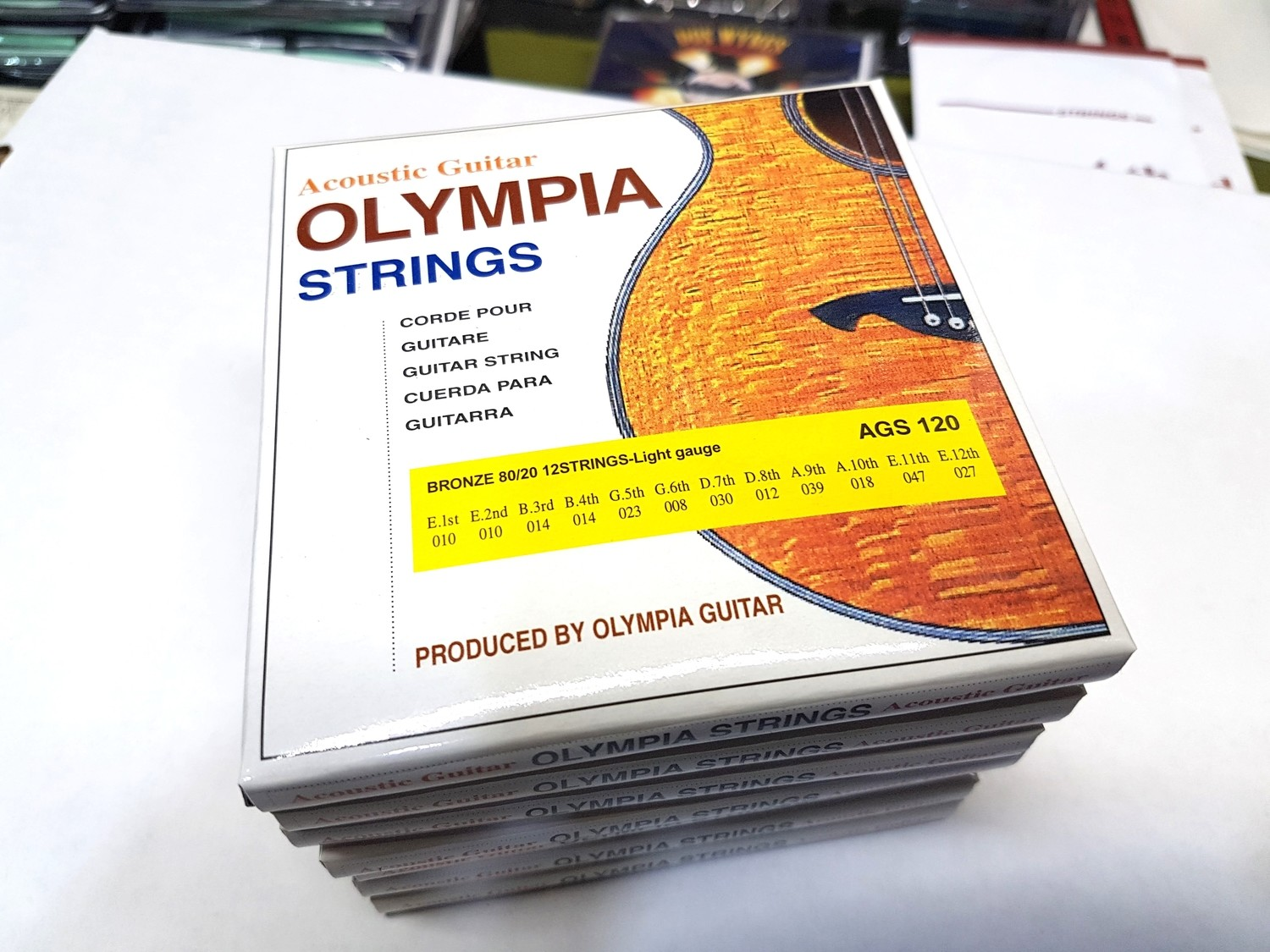 7 Packs 12 Strings Acoustic OLYMPIA AGS-120 BRONZE WOUND LIGHT GUAGE 12 STRING ACOUSTIC GUITAR STRING