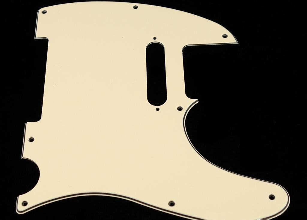 Carparelli 8 Hole Guitar Tele® Pickguard RH  3 Ply Cream