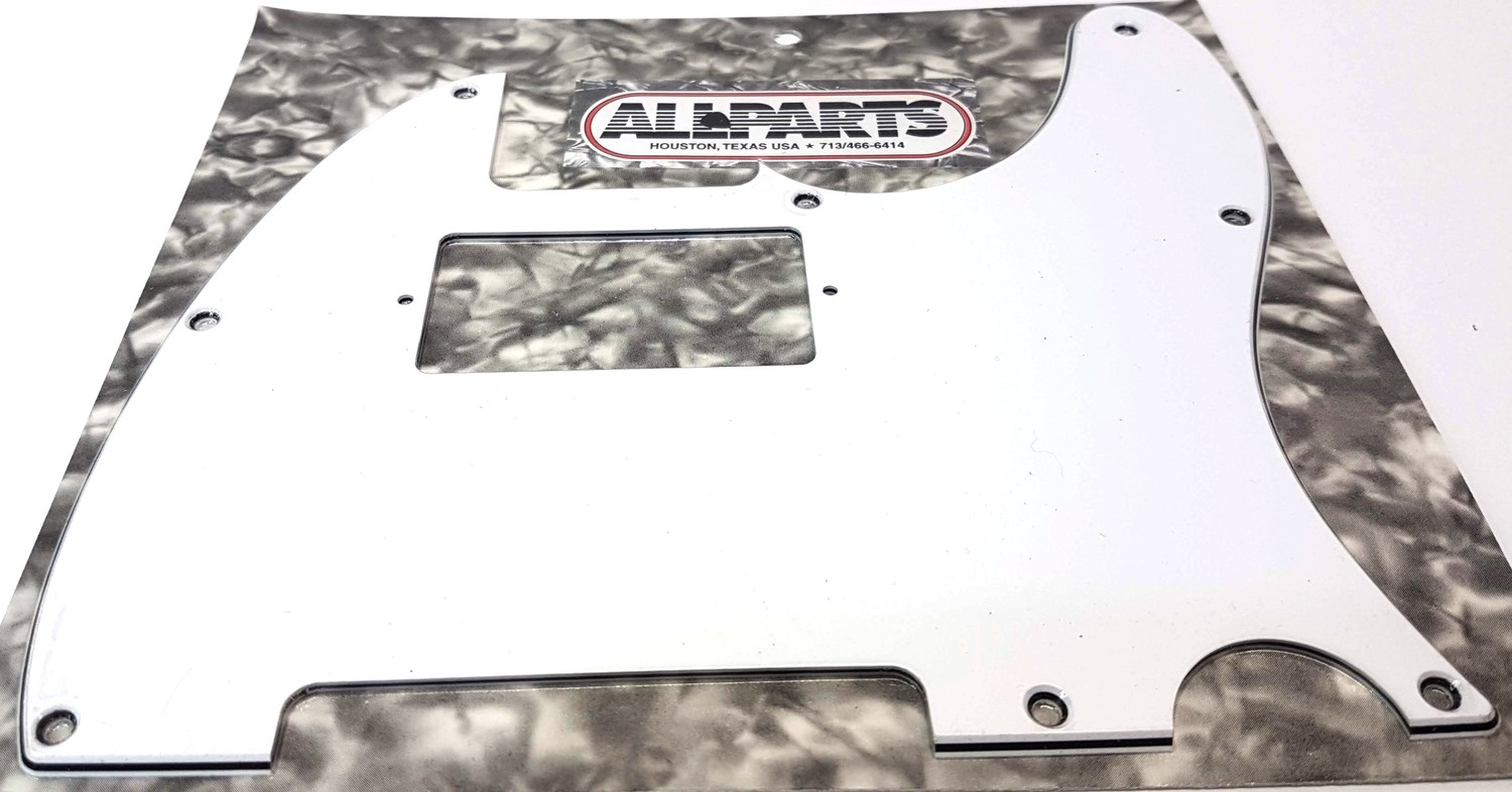 Allparts Pickguard for Tele®, cut for humbucking, (8 screw holes). White 3 Ply