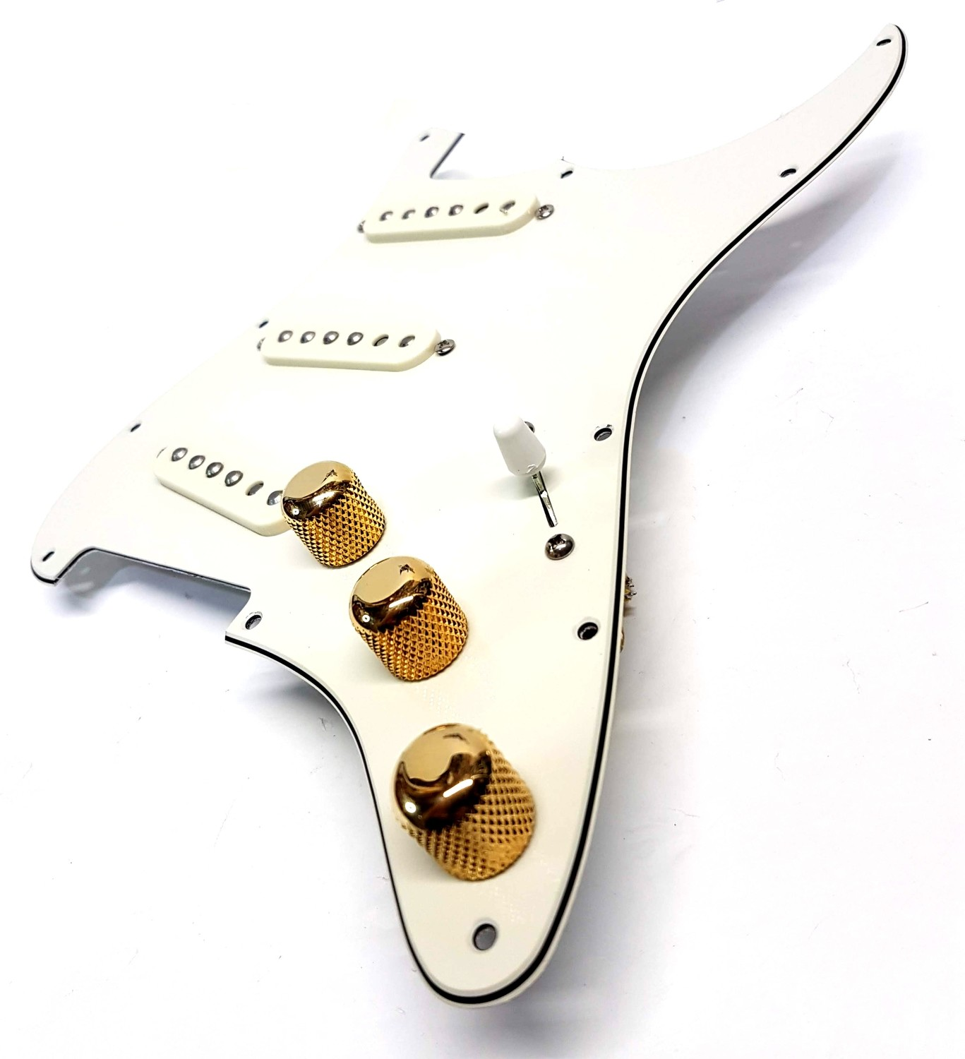Pre Wired Fully Loaded Drop In 11 hole Strat SSS Vintage White 3ply Pickguard