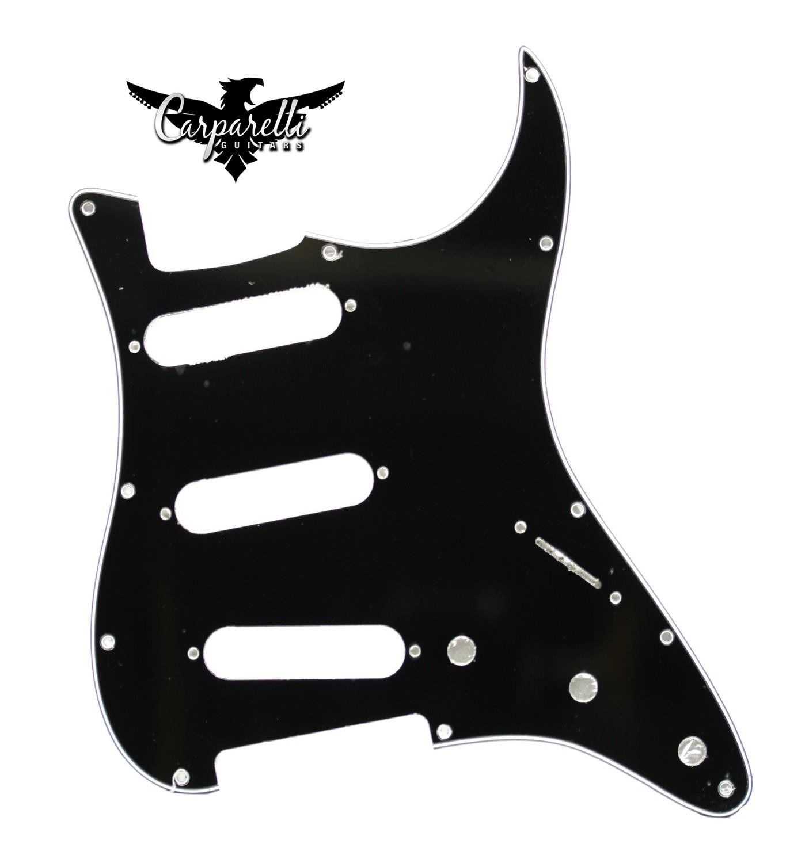 Carparelli SSS Strat® Pickguard 11 Holes 1Ply Black