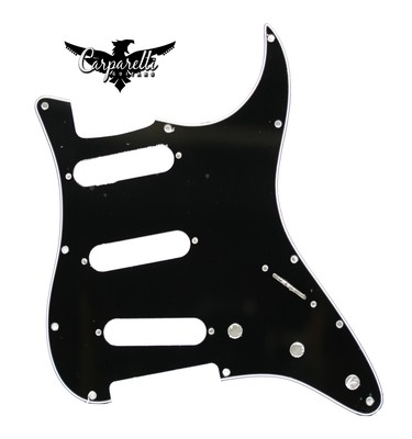 Carparelli SSS Strat® Pickguard 11 Holes 1Ply Black