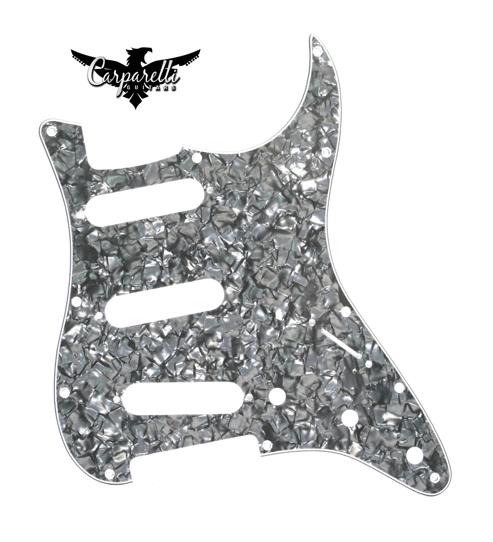 Carparelli SSS Strat® Pickguard 11 Holes 3 Ply Black Pearloid