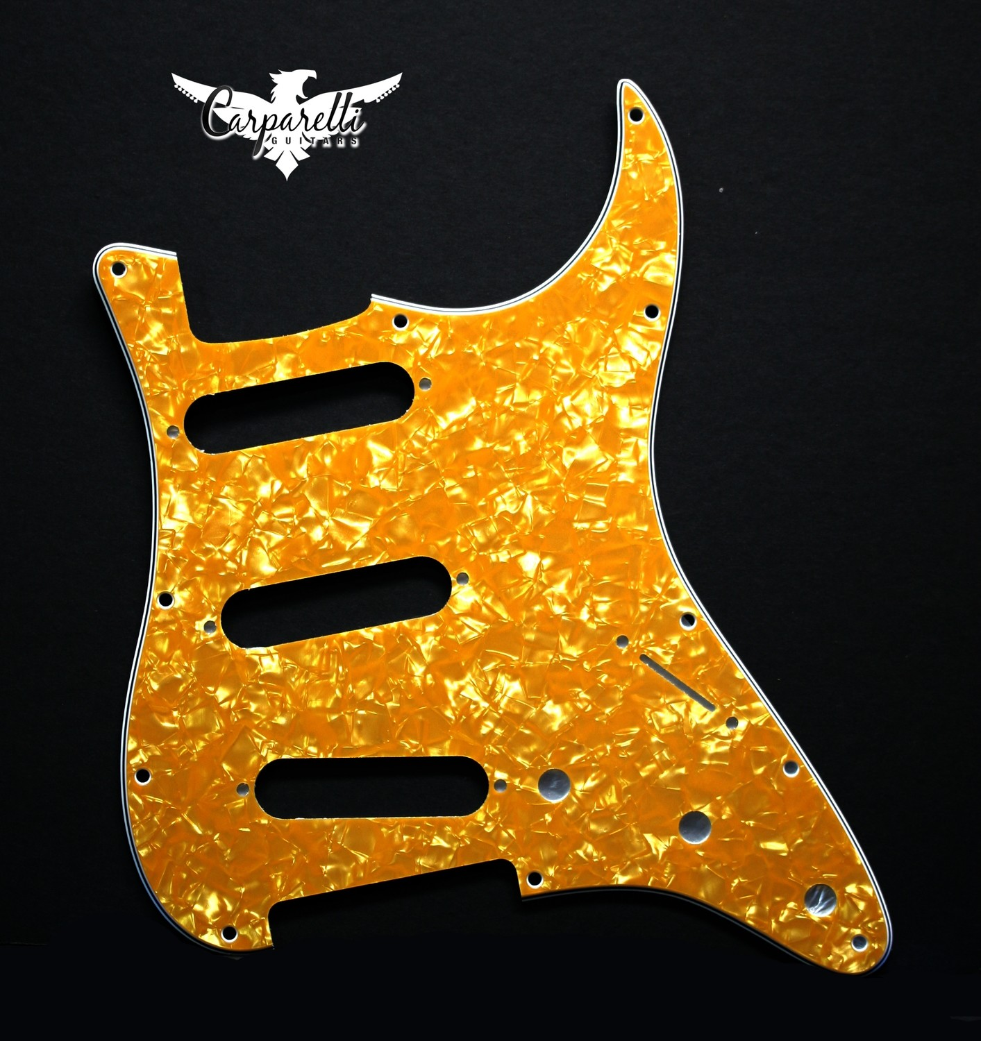 Carparelli SSS Strat® Pickguard 11 Holes 3 Ply Gold Pearloid