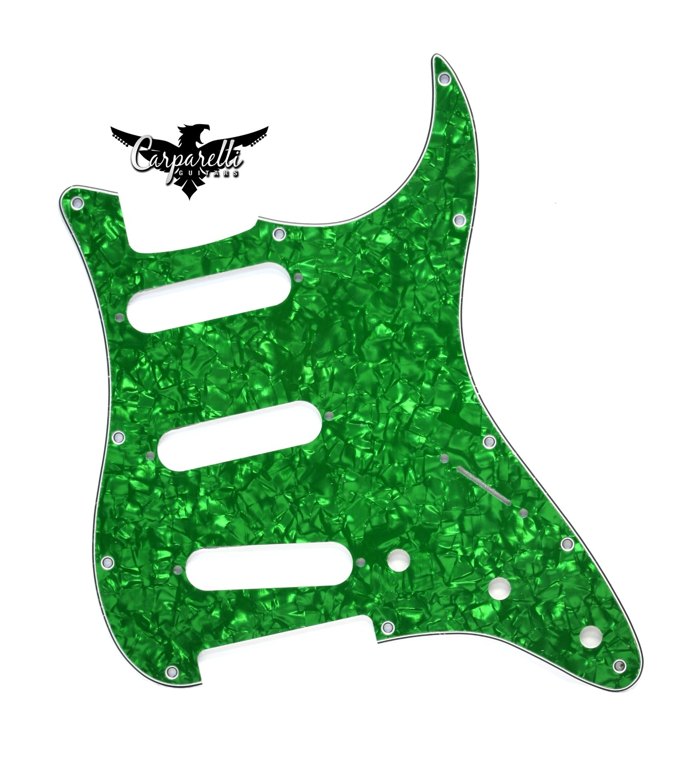 Carparelli SSS Strat® Pickguard 11 Holes 3 Ply Pearloid Green