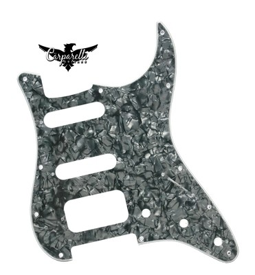 Carparelli HSS Strat® Pickguard 11 Holes 4 Ply Pearloid Black