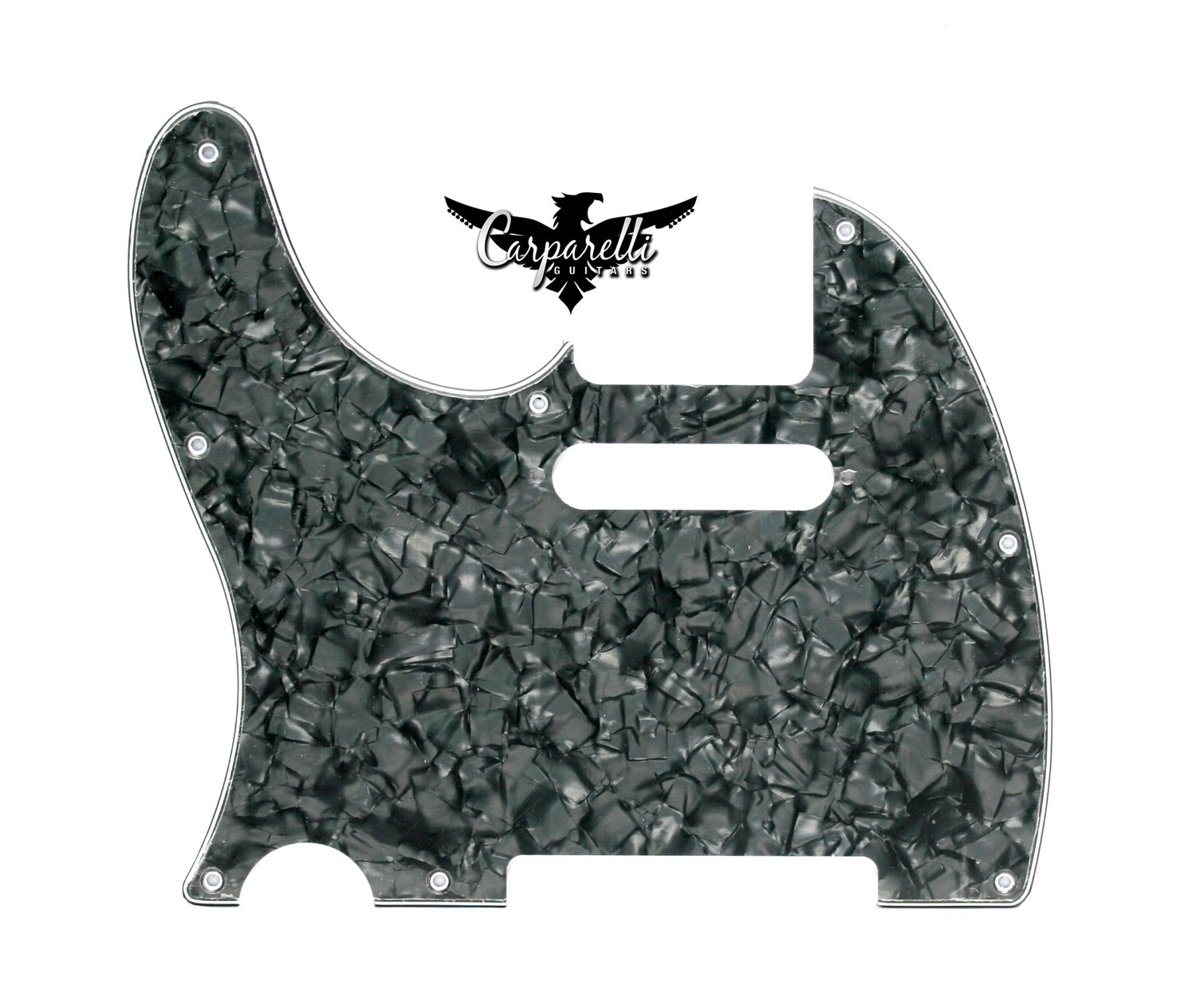 LEFT HAND ​Carparelli 8 Hole Tele® 3 Ply Pearloid Black