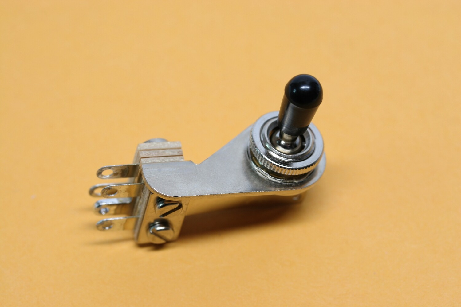 Switchcraft right angle toggle switch, pre-tinned at factory, with knurled nut & knob.