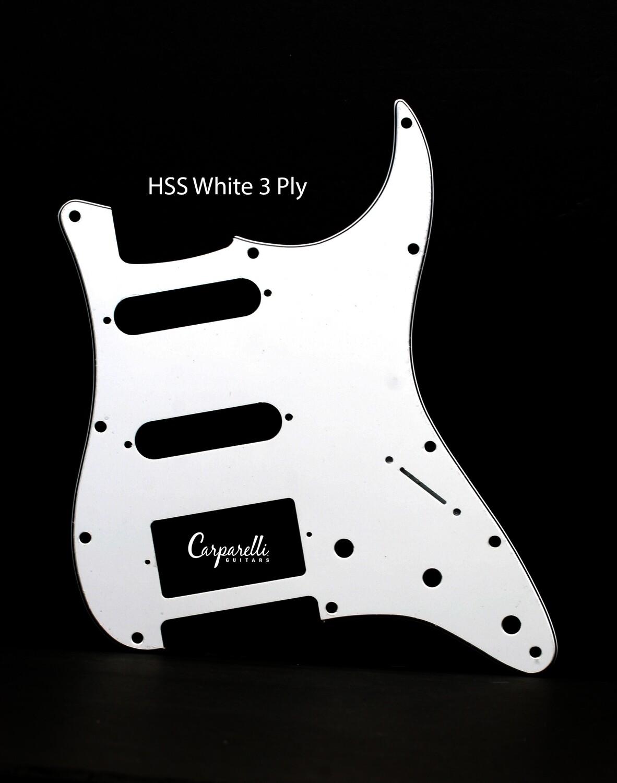 Carparelli HSS Strat® Pickguard 11 Holes WHITE 3 Ply