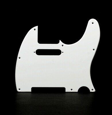 Brio 8 Hole Guitar Tele® Pickguard RH  1 Ply White